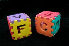 Free Puzzle Cubes With Letters Royalty Free Stock Photography - 597217
