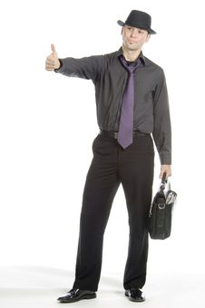 Free Businessman Hitch-hiking Royalty Free Stock Image - 599006