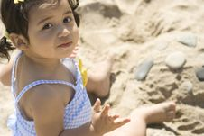 Free Girl Building A Sand Castle Royalty Free Stock Photography - 5900937