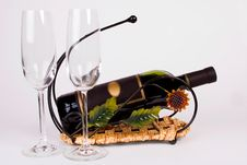 Free Bottle Of Wine And Two Glasses Royalty Free Stock Photos - 5901948