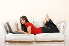 Free Woman With A Laptop On A Lounge Royalty Free Stock Photos - 5902068