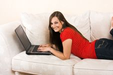 Free Woman With A Laptop On A Lounge Stock Photography - 5902432