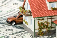 Miniature House And Money. Stock Images