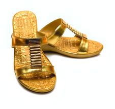 Gold Shoes Isolated On White Royalty Free Stock Image