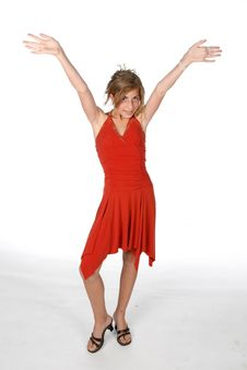 Free Pretty Pre Teen Girl In Red Dress Stock Photography - 5902922