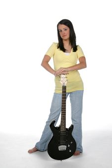 Free Cute Teen With Electric Guitar Royalty Free Stock Photos - 5902978