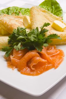 Free Pancakes With Salty Salmon On White Plate Stock Photography - 5903052