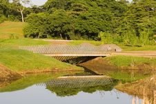 Free Lattice Bridge Over Lake Stock Images - 5903724