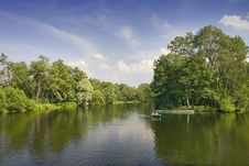 Free Boat In Summer Pond Stock Image - 5904031