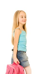 Free Girl With A Pink Backpack Stock Photos - 5904733