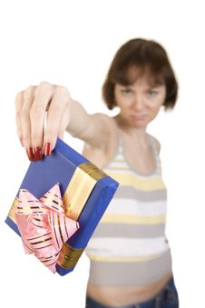A Girl Giving Back A Present Stock Image