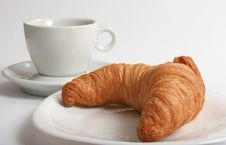 Free Croissant And White Cup Stock Image - 5907041