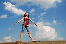 Free Woman On A Background Of The Sky Royalty Free Stock Images - 5907419