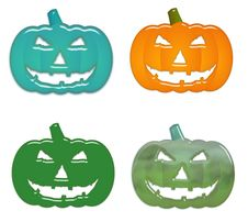 Free Aqua Halloween Pumpkins Stock Image - 5907971