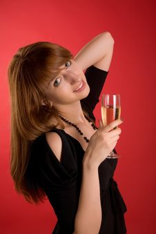 Free Smiling Girl With Champagne Glass Royalty Free Stock Photos - 5908888