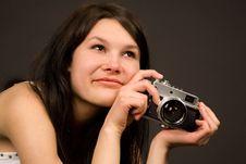 Romantic Girl With Retro Camera Stock Image