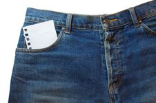 Free Note In Jeans Pocket Royalty Free Stock Images - 5910159