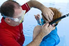 Free Father Adjusting His Son S Snorkel And Mask Royalty Free Stock Photos - 5912648