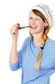 Winking Girl With A Pipe Royalty Free Stock Photo