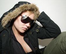 Beautiful Girl In Black  Fur Coat Royalty Free Stock Image