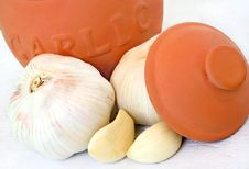 Clay Garlic Pot And Garlic Stock Photography