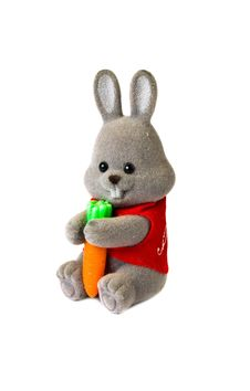 Free Toy Rabbit With Carrot Isolated On White Royalty Free Stock Images - 5915849