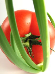 Free Tomato And Spring Onion Stock Photography - 5916852