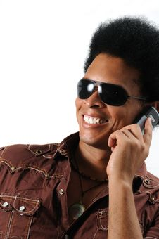 Free Happy Man Using Cell Phone Stock Photo - 5917680