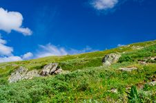 Altay Landscape With Clouds Stock Photo