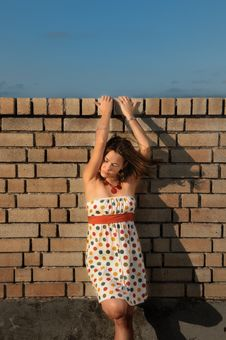 Free Woman Against Brick Wall Royalty Free Stock Photos - 5919508