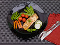 Free Salmon On Black Plate With Cutlery Royalty Free Stock Photos - 5928208