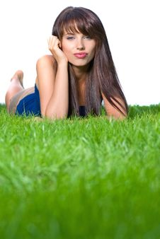 Free Girl Relaxing In The Grass Stock Image - 5920131