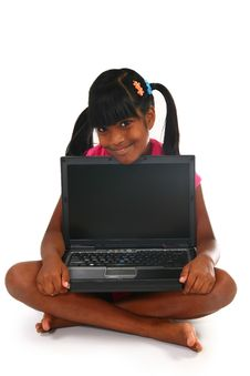 Free Girl With Laptop Stock Photography - 5920312