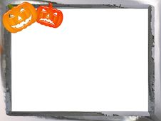 Rough Chrome Halloween Frame Royalty Free Stock Image