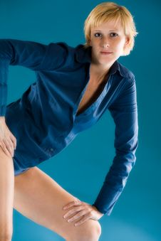 Free Blond Short Haired Model Showing Of Her Clothing Royalty Free Stock Photo - 5921035
