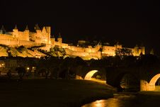 Free Old Carcassonne At Night Royalty Free Stock Photos - 5921108