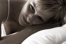 Free Blond In Lingerie Thinking While In Bed Stock Photo - 5921490