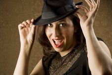 Free Hispanic Woman Tipping Her Hat Stock Photos - 5922183