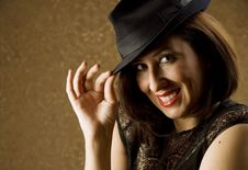 Free Hispanic Woman Tipping Her Hat Royalty Free Stock Photography - 5922187