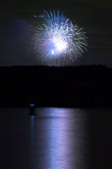 Free Firework And Reflection On Water Stock Photo - 5922320
