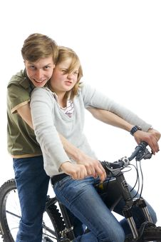 Free Young Couple On A Bicycle Isolated On A White Stock Images - 5922784
