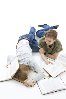 Free The Two Young Students Isolated On A White Stock Photo - 5922790
