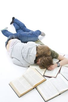 Free The Two Young Students Isolated On A White Royalty Free Stock Photo - 5922795