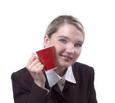 Free Portrait Of The Business Woman With A Cup Royalty Free Stock Images - 5924059