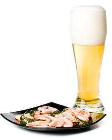 Beer In A Glass And A Dish With Shrimps Royalty Free Stock Photo
