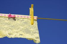 Clothes Washing Laundry Line Yellow Royalty Free Stock Photo