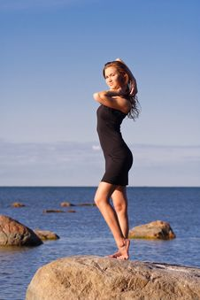 Free Young Lady In Black Dress Royalty Free Stock Image - 5924576
