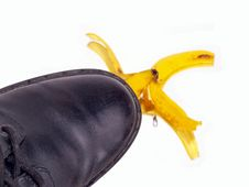 Free Black Shoe Banana Peel Royalty Free Stock Images - 5924639