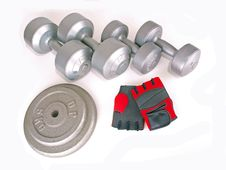 Free Weights & Red Gloves Stock Image - 5925421