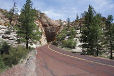 Road Through The Zion NP, Utah Royalty Free Stock Photography